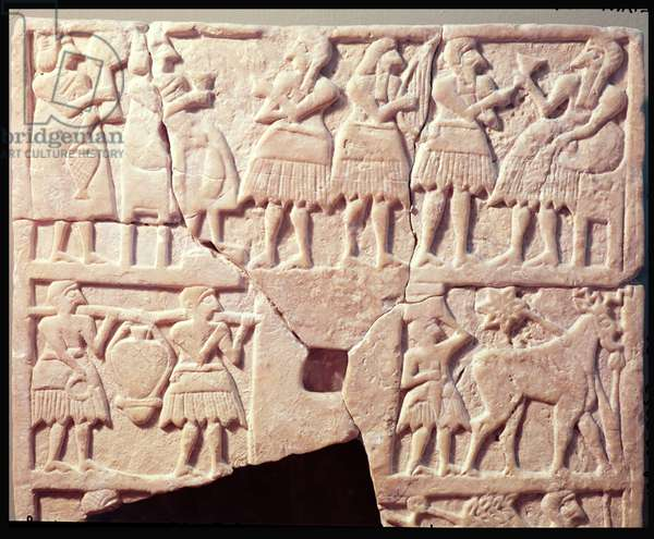 Votive plaque depicting an offering scene, from Diyala, Early Dynastic Period, 2600-2500 BC (stone)