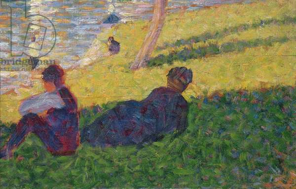 Seated man and reclining woman, study for A Sunday Afternoon on the Island of La Grande Jatte, 1884 (oil on panel)