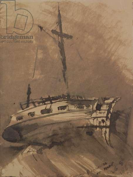A Ship in Choppy Seas, 1864 (pen & ink wash on paper)