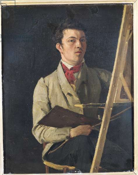 Self Portrait, Sitting next to an Easel, 1825 (oil on canvas)