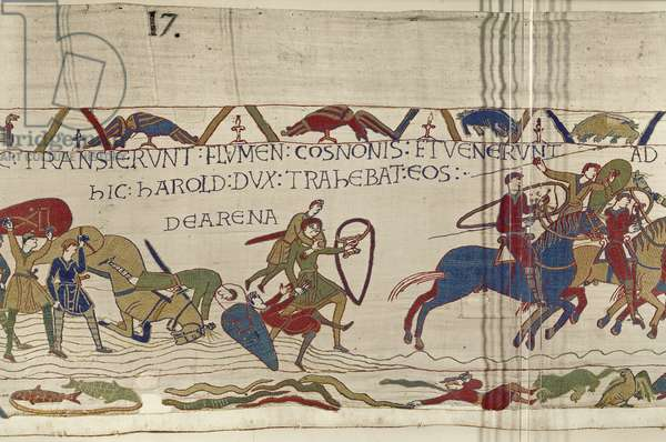 Harold Drags Norman Soldiers from the Quicksand, Bayeux Tapestry (wool embroidery on linen)