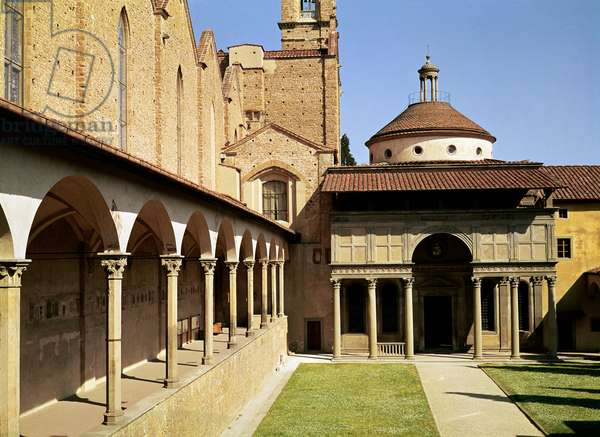 View of the cloisters and the Pazzi Chapel, 1429-46 (photo)