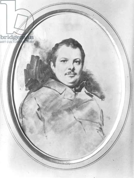 Portrait of Honore de Balzac (1799-1850) c.1820 (ink & wash on paper) (b/w photo)