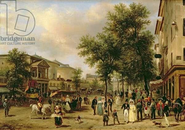 View of Boulevard Montmartre, Paris, 1830 (oil on canvas)