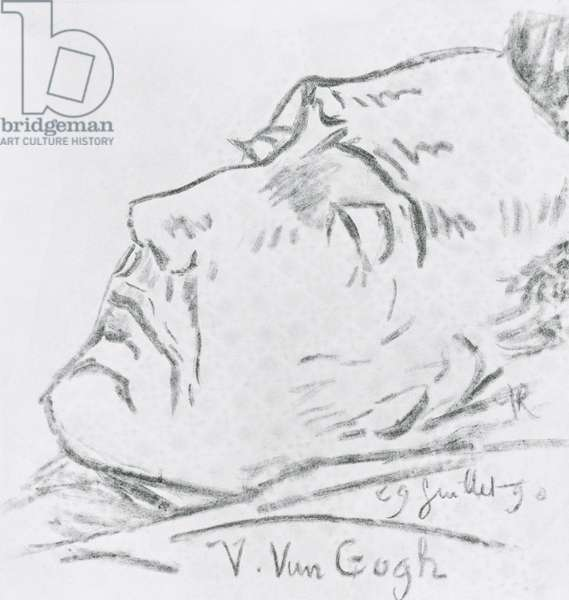 Portrait of Vincent Van Gogh (1853-90) on his deathbed, 29 July 1890 (charcoal on paper) (b/w photo)