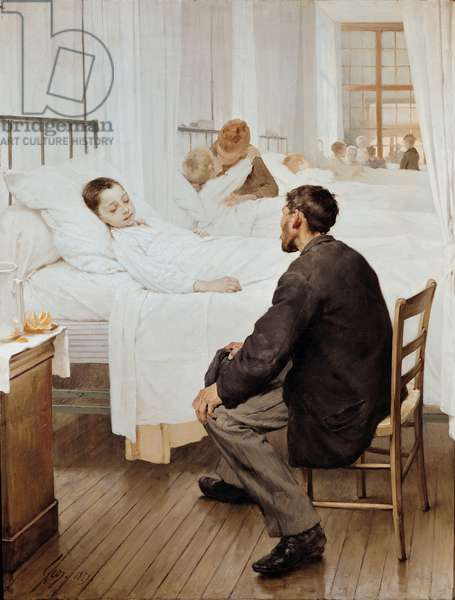 Visiting Day at the Hospital, 1889 (oil on canvas)