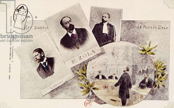 Documents concerning the Dreyfus Affair, Zola's trial, 1898 (colour litho)