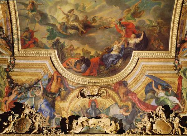 The Capture of the Town and Citadel of Ghent in Six Days in 1678, ceiling painting from the Galerie des Glaces