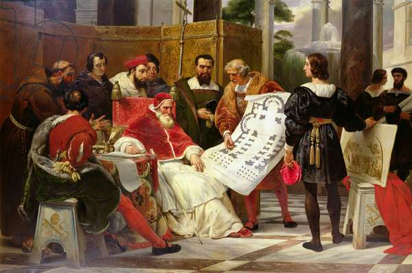 Pope Julius II ordering Bramante, Michelangelo and Raphael to construct the Vatican and St. Peter's, 1827 (oil on canvas) (detail from 157491)