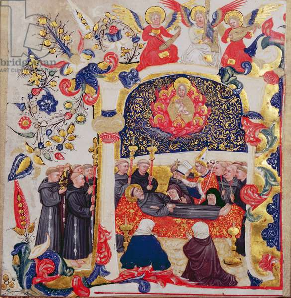 Inhabited initial 'A' depicting the Funeral of St. Francis, c.1410 (vellum)