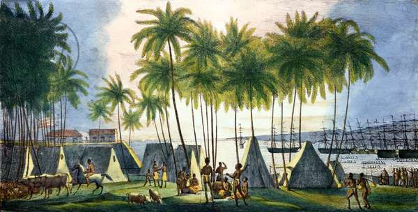 Port of Hanarourou in the Sandwich Islands, from 'Voyage Pittoresque autour du Monde', engraved by G. Langlume (fl.1822-40) 1822 (colour litho)