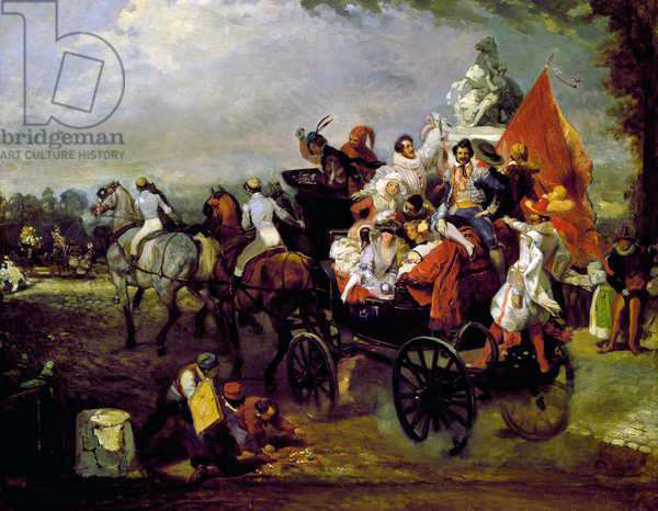 Carriage with Men and Women in Costume on the Champs-Elysees, 1834 (oil on canvas)