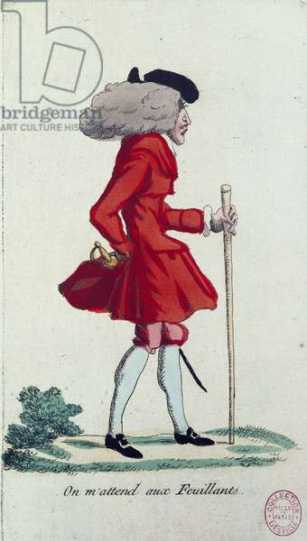 'On m'attends aux Feuillants', caricature of the French Revolution, c.1791-92 (coloured etching)