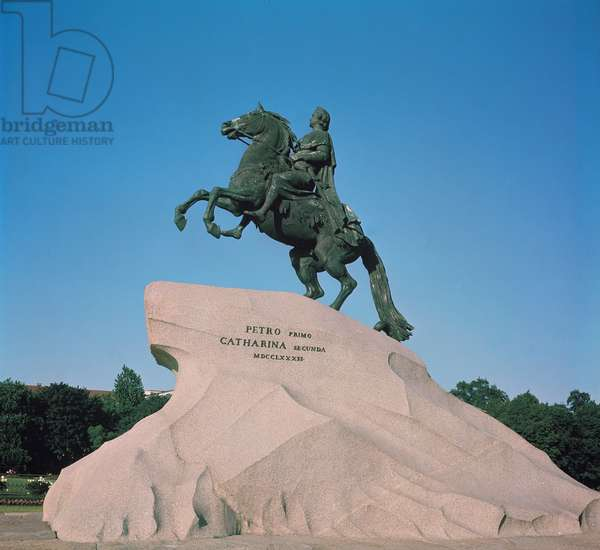 Equestrian statue of Peter I (1672-1725) the Great, 1782 (photo)