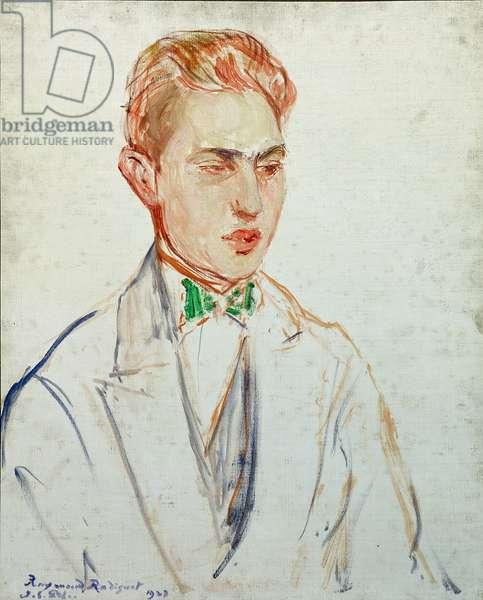 Study for a portrait of Raymond Radiguet (1902-23) 1923 (oil on card)