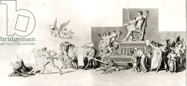 Triumph of the French People over the Monarchy, project for an opera curtain, 1794 (pen and ink and wash on paper) (b/w photo)
