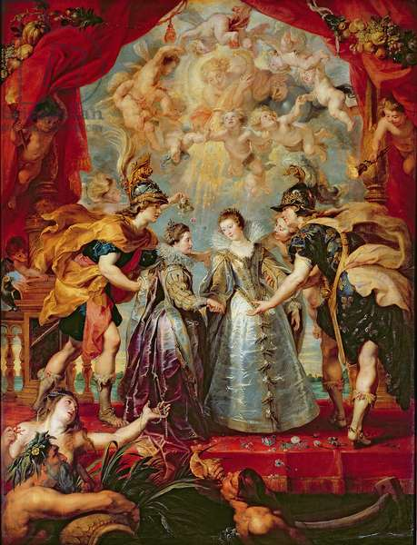 The Medici Cycle: Exchange of the Two Princesses of France and Spain, 9th November 1615, 1621-25 (oil on canvas)