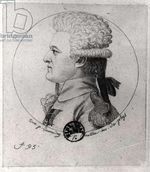 Portrait of Pierre Charles de Villeneuve (1763-1806), engraved by Gilles Louis Chretien (1754-1811) (engraving)