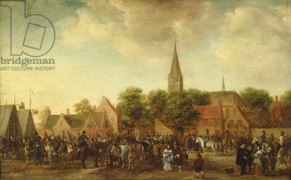 Horse Market at Valkenburg (oil on canvas)