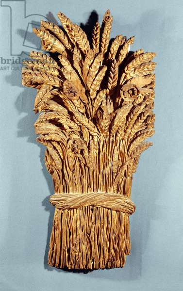 Baker's sign with ears of wheat and flowers of the field (gilded wood)