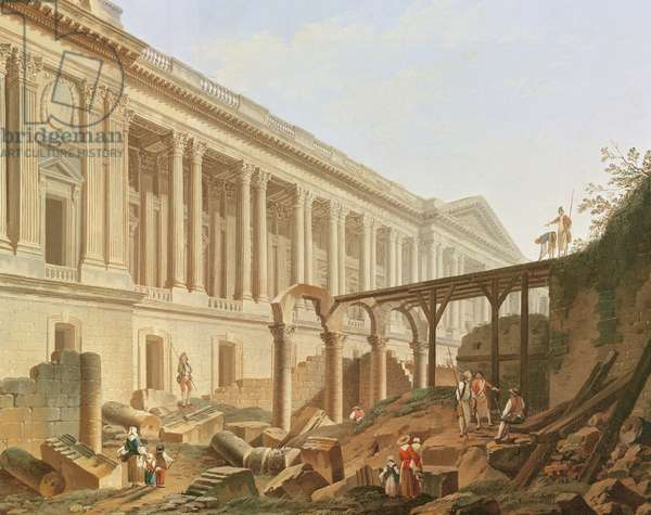 Demolition of the Hotel de Bourbon and clearing the Louvre Colonnade, c.1764 (oil on canvas)