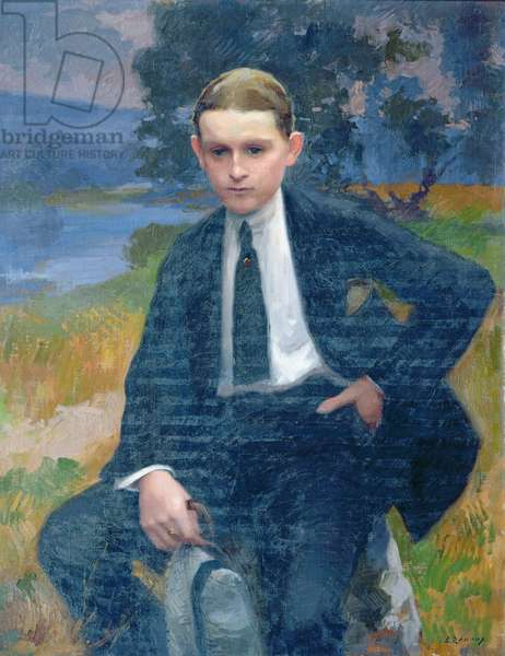 Portrait of Marcel Renoux aged about 13 or 14 (oil on canvas)