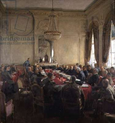 A Meeting of the Interallied Superior Council at the Trianon Palace, Versailles July 1918, 1924 (oil on canvas)