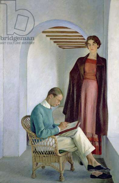 The Artist's Son and his Wife or Two Figures in an Interior, c.1930-35 (oil on canvas)