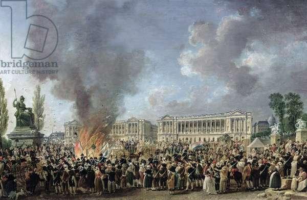 The Celebration of Unity, Destroying the Emblems of Monarchy, Place de la Concorde, 10th August 1793 (oil on canvas)