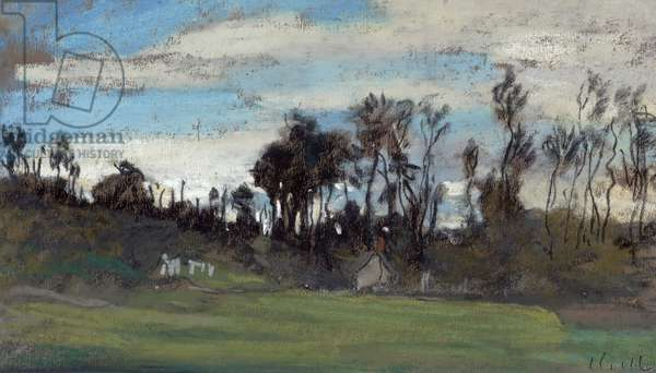 The Meadow lined with trees (pastel and gouache)