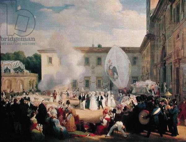 Francois Rene (1768-1848) Vicomte de Chateaubriand, Receiving the Grand Duchess Elena of Russia (1807-73) in the Gardens of the Villa Medici, 29th April 1829, 1830 (oil on canvas)