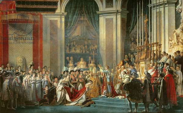 The Consecration of the Emperor Napoleon (1769-1821) and the Coronation of the Empress Josephine (1763-1814) by Pope Pius VII, 2nd December 1804, 1806-7 (oil on canvas)