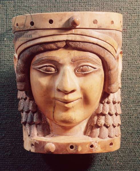 Head of a Woman, called the Lady of the Well or the Mona Lisa of Nimrud, from the Palace of Salmanassar III, 1400-612 BC (ivory)