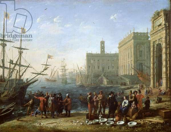 Harbour Scene (oil on canvas)