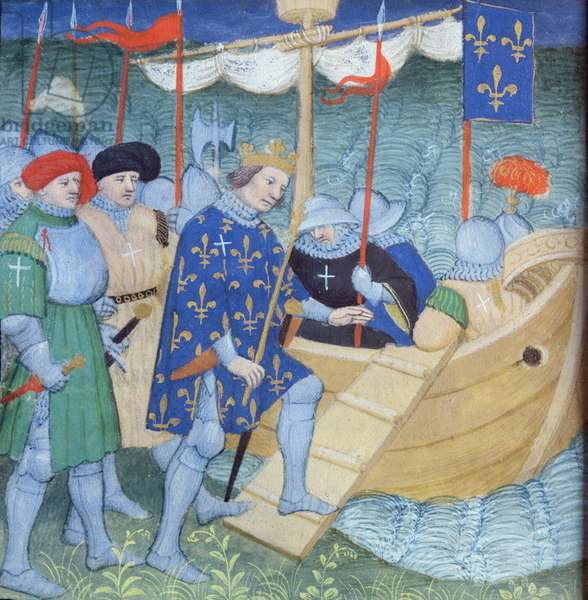 St. Louis embarking for the Crusades (vellum)