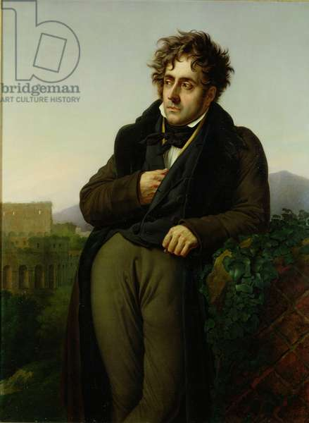 Portrait of Francois Rene (1768-1848) Vicomte de Chateaubriand, 1811 (oil on canvas) (see also 245771)