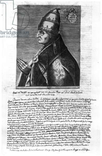 Portrait of Pope John XXII (1244-1334) (engraving)