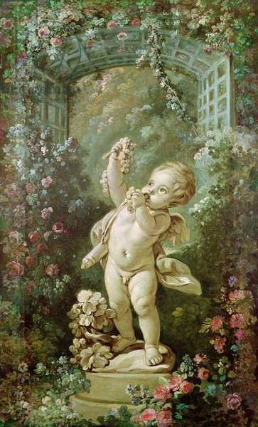 Cupid with Grapes (oil on canvas)