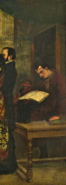 Baudelaire reading a book, detail from 'The Studio of the Painter, a Real Allegory', 1855 (oil on canvas) (detail of 19190)