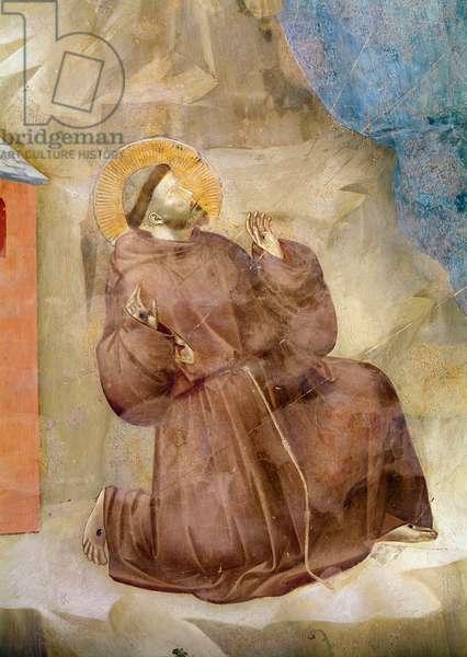 Saint Francis receiving the Stigmata, detail of Saint Francis, c.1297-99 (fresco) (detail of 62299)