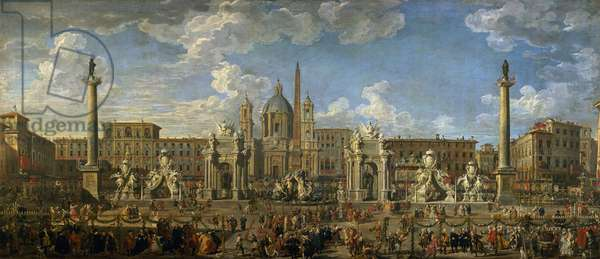Preparation For the Firework Display Held at Piazza Navona, Rome, to Celebrate the Birth of the Dauphin, 1729 (oil on canvas)