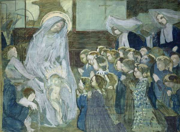 Sketch of the Virgin at school, 1903 (oil & charcoal on paper)