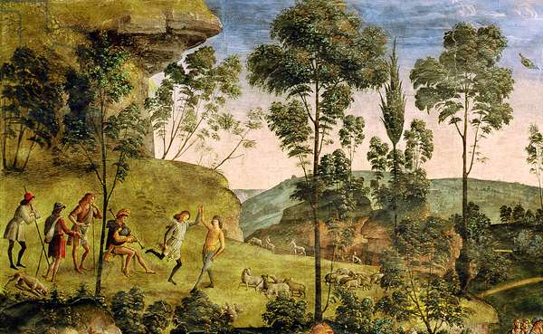 Goatherds and shepherds making music and dancing, detail from 'The Journey of Moses', c.1481-3 (fresco) (detail of 218710)