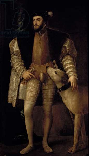 Charles V (1500-58) Holy Roman Emperor and King of Spain with his Dog, 1533 (oil on canvas)