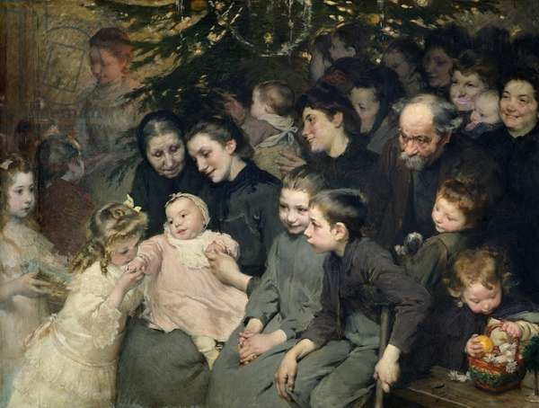The Drop of Milk in Belleville: The Christmas Tree at the Dispensary, 1908 (oil on canvas)