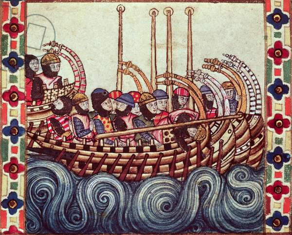 Fol.53r Departure of a Boat for the Crusades, written in Galacian for Alfonso X (1221-84) (vellum)
