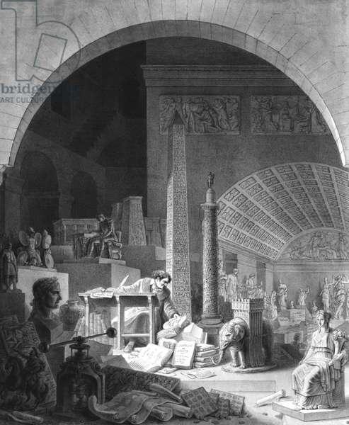 Dominique Vivant Denon (1747-1825) cataloguing the Louvre Collection (engraving) (b/w photo)