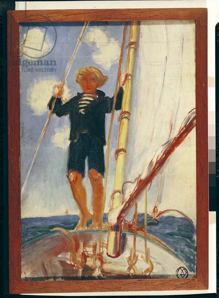 Dominique on the Isard, 1923 (oil on canvas)