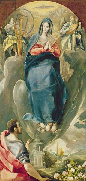 The Immaculate Conception Contemplated by St. John the Evangelist (oil on panel)