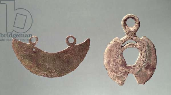 Two razors, from the Hallstatt cemetery (bronze)